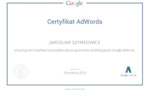 Certyfikat Google Adwords Jarosław Szymkowicz
